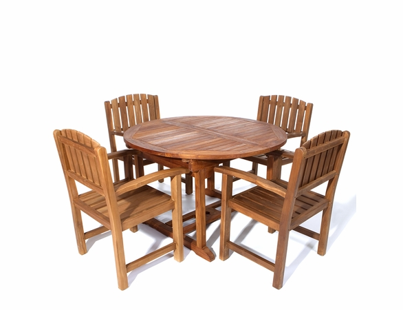 Java Teak 5 Piece Oval Extension Table Dining Set - Available to Ship End May/Beginning June