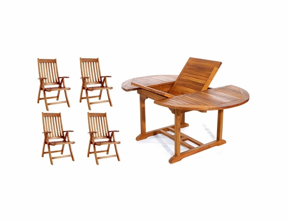 Java Teak 5 Piece Oval Extension Table Folding Arm Chair Dining Set