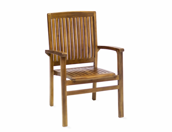 Java Teak 5 Piece Oval Extension Table Stacking Chair Dining Set - Available to Ship End May/Beginning June