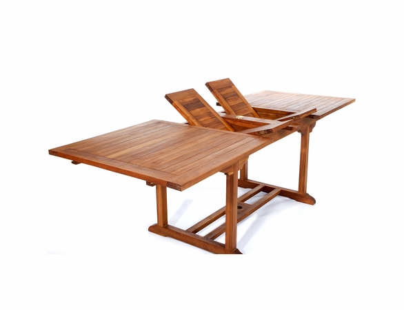 Java Teak 5 Piece Rectangular Extension Table Folding Arm Chair Dining Set - Available to Ship End of Oct