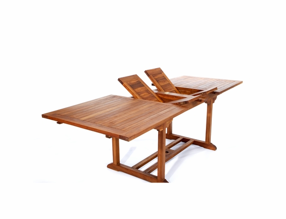 Java Teak 5 Piece Rectangular Extension Table Stacking Chair Dining Set - Available to Ship End of Oct