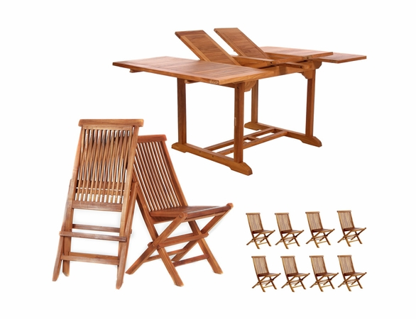 Java Teak 9 Piece Butterfly Double Extension Table Folding Chair Dining Set - Available to Ship End of May