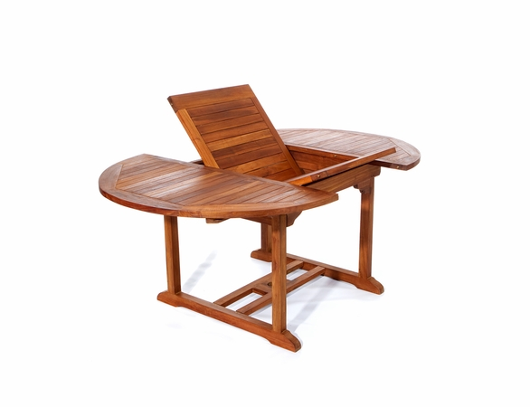 Java Teak 9 Piece Oval Extension Table Folding Chair Dining Set - Available to Ship End May/Beginning June