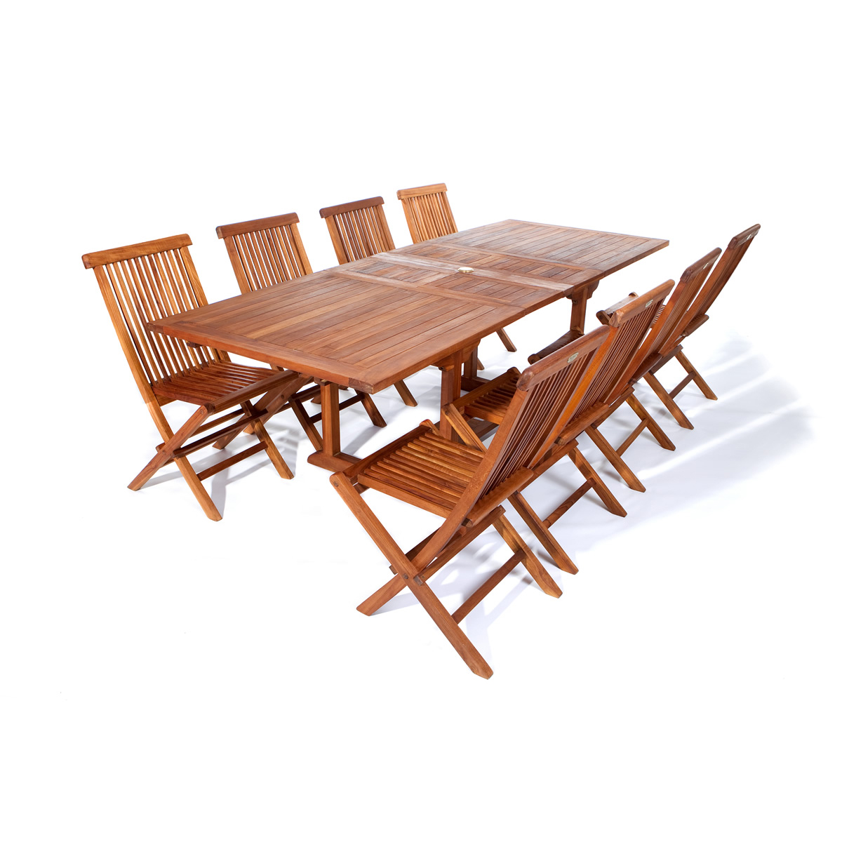 Java Teak 9 Piece Extension Table And Folding Chair Set