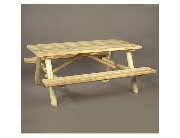 Log Cedar Picnic Table w/ Flip-Up Benches - Estimated Available to Ship End of June