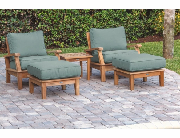 Royal Teak Miami Deep Seating Chairs and Ottoman Set with Side Table