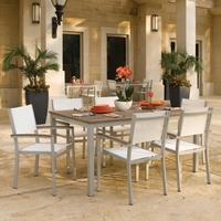 "Oxford Garden 7 Pc Travira Tekwood 63"" Dining Set w/ Sling Chairs - Spring Season Sale"