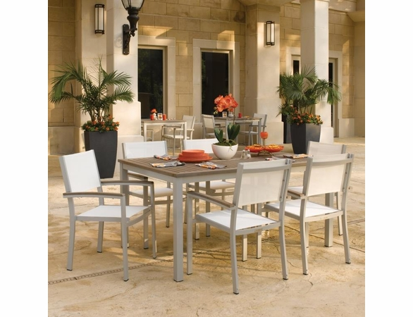 "Oxford Garden 7 Pc Travira Tekwood 63"" Dining Set w/ Sling Chairs - Extra Spring Preview Discounts"
