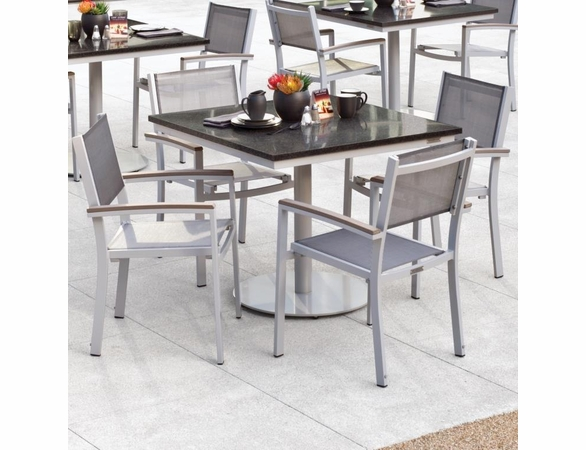 "Oxford Garden Travira 5 Piece Bistro Set with 36"" Square Table - Reduced Closeout Pricing"