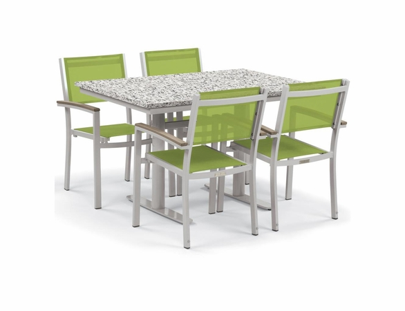 """Oxford Garden Travira 5 Piece Lite-Core and Black Sling Bistro Set with 34"""" x 48"""" Table - Reduced Closeout Pricing"""