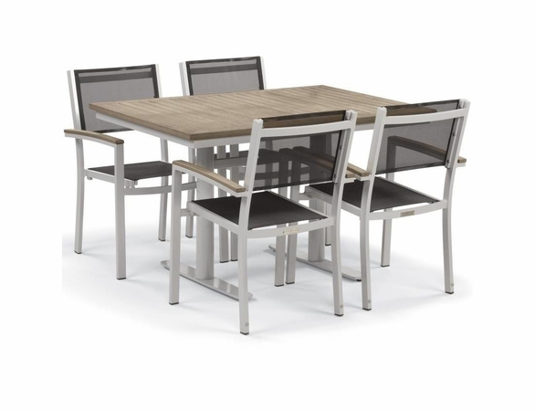 "Oxford Garden Travira 5 Piece Tekwood Bistro Set with 34"" x 48"" Table"
