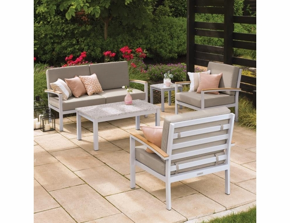 Oxford Garden Travira 5-Piece Tekwood Loveseat Chat Set - Additional Summer Sale Pricing