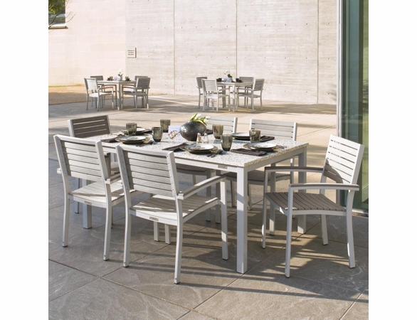 "Oxford Garden Travira 7-Piece Lite-Core Dining Set with 63"" x 43"" Rectangular Table - Additional Summer Sale Pricing"