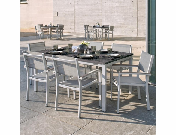 """Oxford Garden Travira 7 Piece Lite-Core Tekwood Dining Set with 63"""" x 40"""" Table - Additional Summer Sale Pricing"""