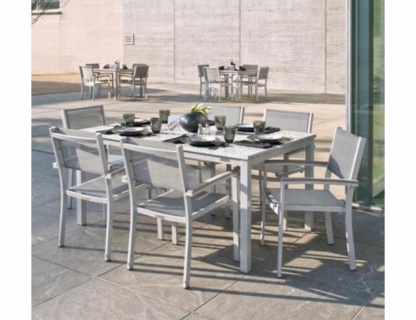 """Oxford Garden Travira 7 Piece Lite-Core Tekwood Dining Set with 63"""" x 40"""" Table"""