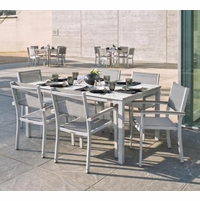 "Oxford Garden Travira 7 Piece Lite-Core Tekwood Dining Set with 63"" x 40"" Table"