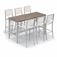 """Oxford Garden Travira 72"""" Bar Table 7-Piece Set with Sling Chairs"""