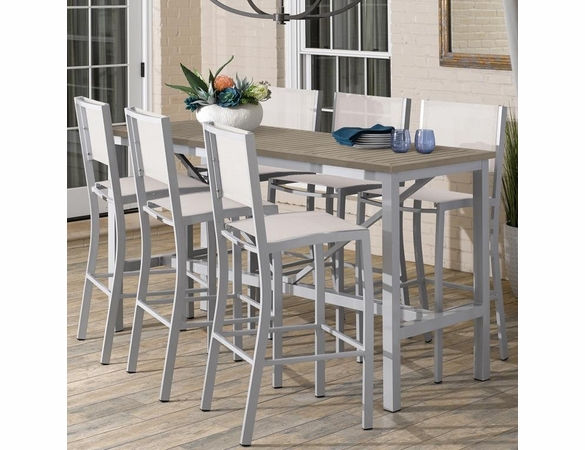 "Oxford Garden Travira 72"" Bar Table 7-Piece Set with Sling Chairs"