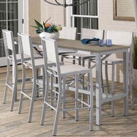 "Oxford Garden Travira 72"" Bar Table 7-Piece Set with Sling Chairs - Spring Season Sale"