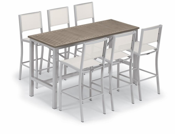 "Oxford Garden Travira 72"" Bar Table 7-Piece Set with Sling Chairs - Summer Sale Event Additional Discounts"