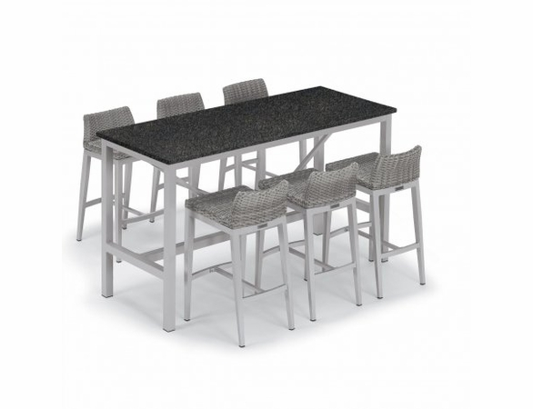 "Oxford Garden Travira 72"" Lite Core 7-Piece Bar Table Set"