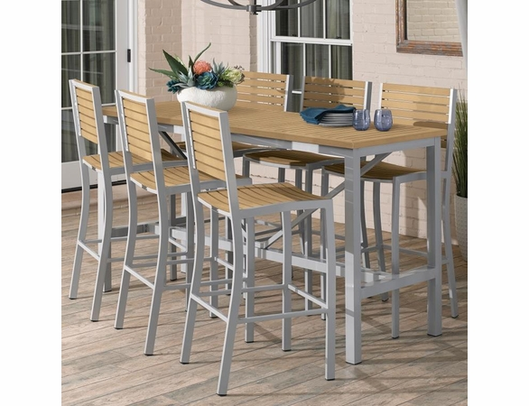 "Oxford Garden Travira 72"" Tekwood 7-Piece Bar Table Set"