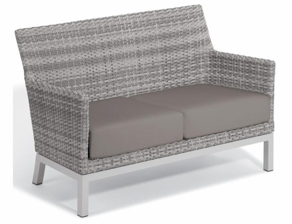 Oxford Garden Travira Argento Resin Wicker Loveseat - Summer Sale Event Additional Discounts