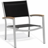 Oxford Garden Travira Chat Chair w/ Teak Armcaps (Set of 2) - Sling Color Options - Additional Summer Sale Pricing