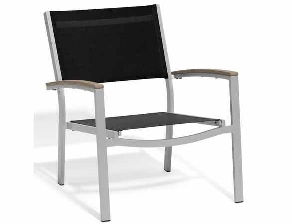 Oxford Garden Travira Chat Chair w/ Tekwood Armcap (Set of 2) - Sling Color Options - Additional Summer Sale Pricing