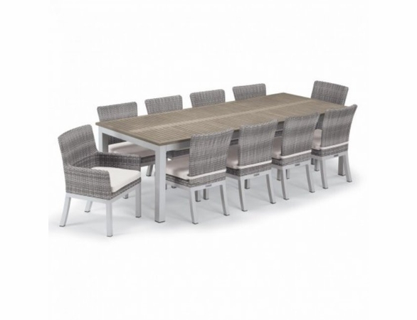 Oxford Garden Travira Tekwood 10 Seat Rectangular Dining Set with Wicker Chairs - Summer Sale Event Additional Discounts