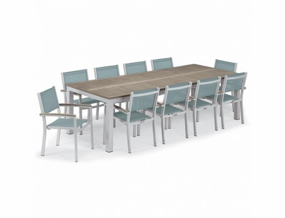Oxford Garden Travira Tekwood 10 Seat Rectangular Dining Set with Sling Chairs - Summer Sale Event Additional Discounts