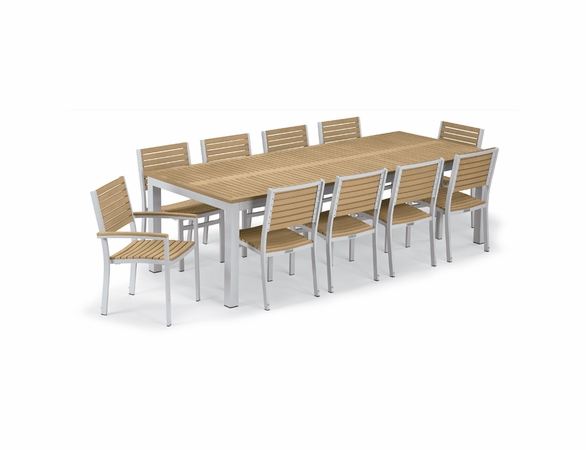 Oxford Garden Travira Tekwood 10 Seat Rectangular Dining Set - Summer Sale Event Additional Discounts