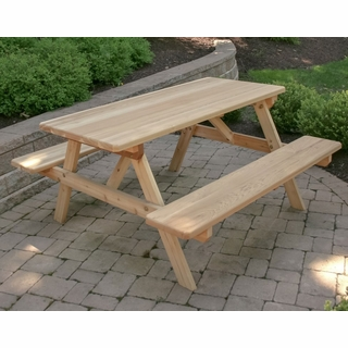 35f94a5ef6c5 Park Style Picnic Table w/ Attached Benches