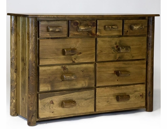 Pine & Cedar Log 10 Drawer Dresser