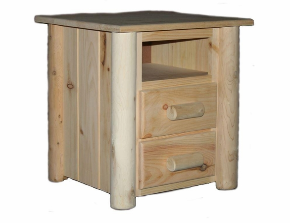 Pine & Cedar Log 2 Drawer Bed Side Table