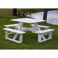 "Polyresin 44"" Square Walk-in Picnic Table"