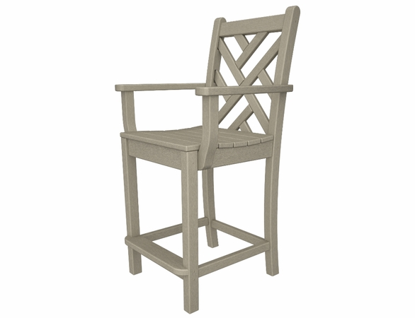 """POLYWOOD® Chippendale 42"""" Counter Arm Chair"""
