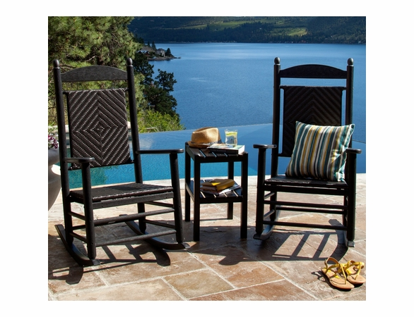 POLYWOOD® Jefferson Woven Rocking Chair 3 Piece Set  -  Temporarily Out of Stock