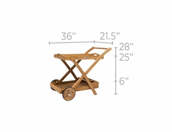 """Royal Teak 33"""" Serving Cart (Estimated Availability to Ship in July)"""