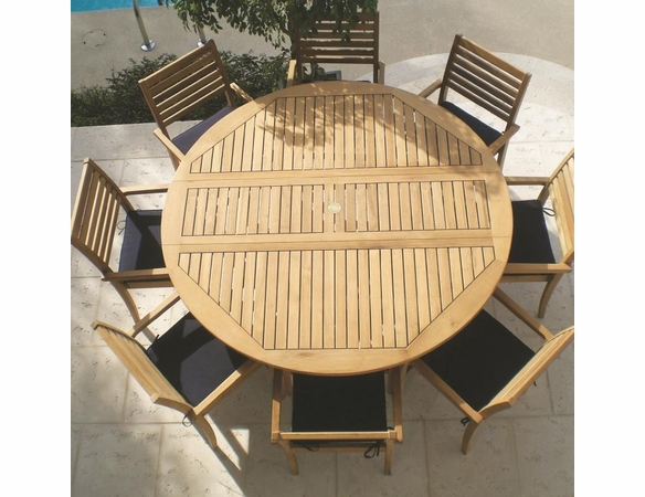 Royal Teak 6' Round Drop Leaf Table Set with 8 Avant Chairs