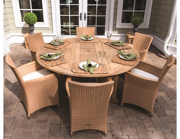 Royal Teak 6' Round Drop Leaf Table with 6 Helena Wicker Chairs Dining Set