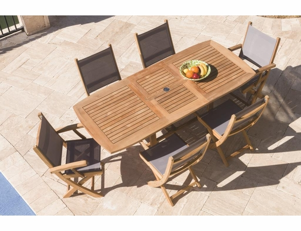 """Royal Teak 60"""" - 78"""" Rectangular Family Expansion Table and 6 SailMate Chairs Dining Set"""