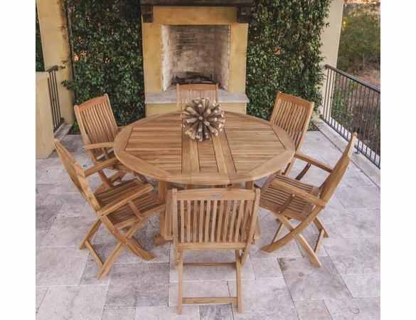 "Royal Teak 60"" Round Drop Leaf Table with 6 Sailor Arm Chairs"