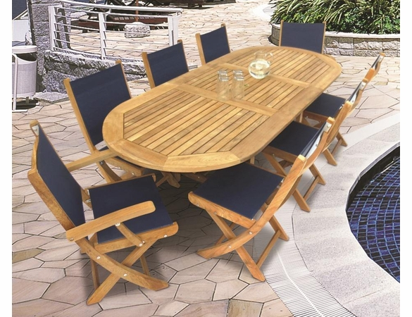 "Royal Teak 72"" - 96"" Oval Family Expansion Table and 8 SailMate Chairs Dining Set"