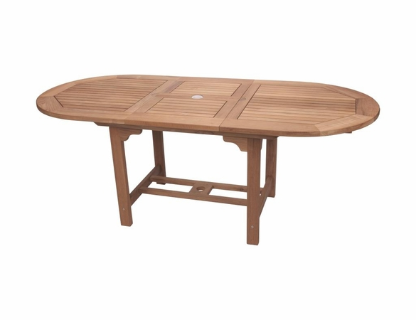 """Royal Teak 72"""" - 96"""" Oval Family Expansion Table and 8 SailMate Chairs Dining Set - Estimated Availability to Ship in Sept"""