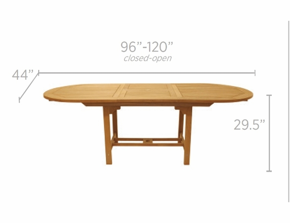 "Royal Teak 96"" - 120"" Oval Family Expansion Table and 8 Avant Chairs Dining Set"