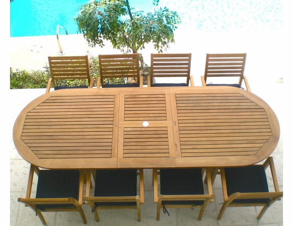 """Royal Teak 96"""" - 120"""" Oval Family Expansion Table and 8 Avant Chairs Dining Set - Estimated Availability to Ship in Sept"""