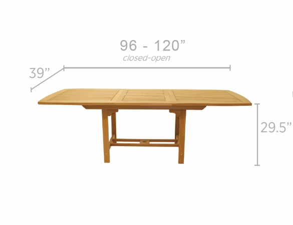 "Royal Teak 96"" - 120"" Rectangular Family Expansion Table and 10 Compass Chairs Dining Set"