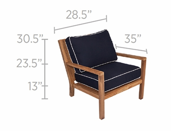 Royal Teak Coastal 5 Piece Deep Seating Group - Estimated Availability to Ship in July