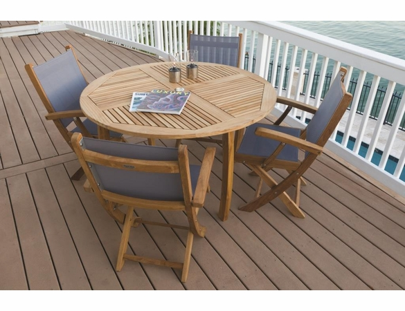 """Royal Teak Dining Set with 50"""" Round Dolphin Table and 4 Sailmate Chairs"""